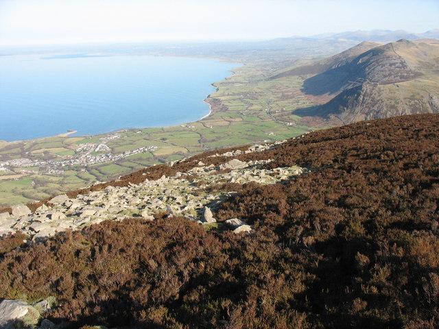 The northern flank of the summit plateau of Yr Eifl