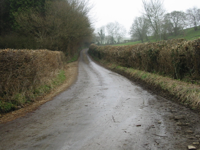 Looking S along the lane from Priston