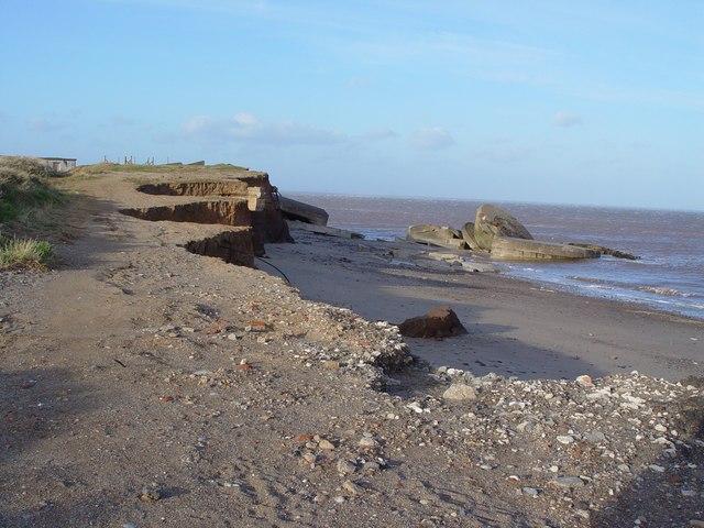 Coastal erosion, Cliffs at Kilnsea