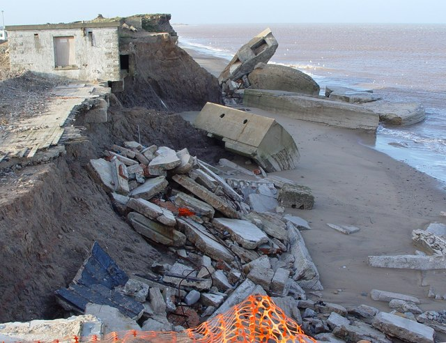 Coastal erosion, debris at Kilnsea