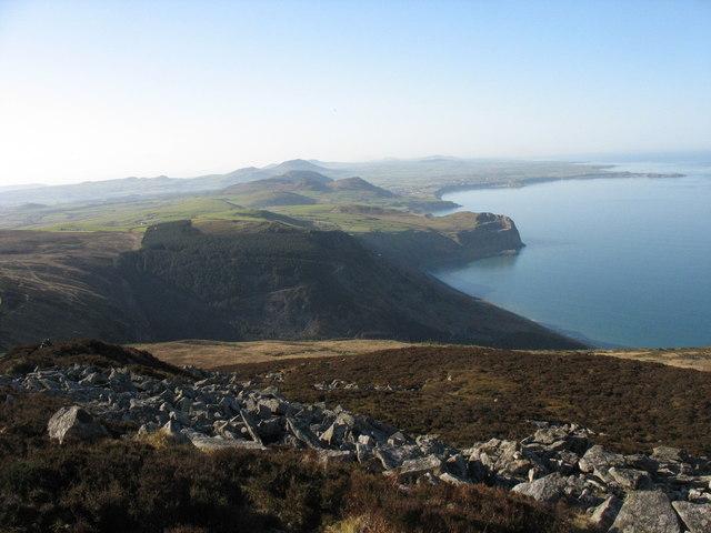 The scree strewn south-western slopes of the Mynydd y Gwaith