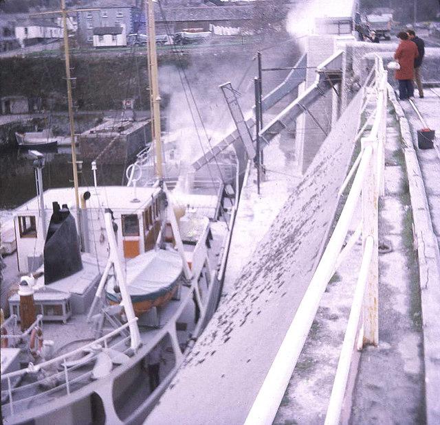 China clay boat loading at Charlestown - 1