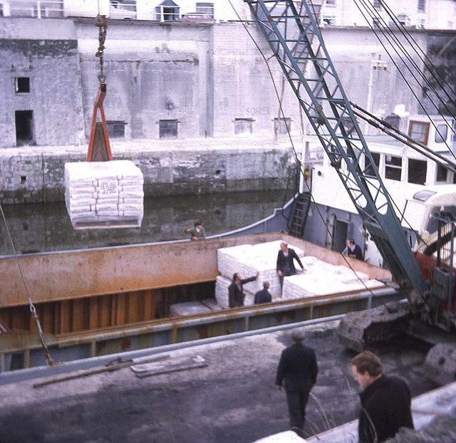 Cargo boat loading at Charlestown