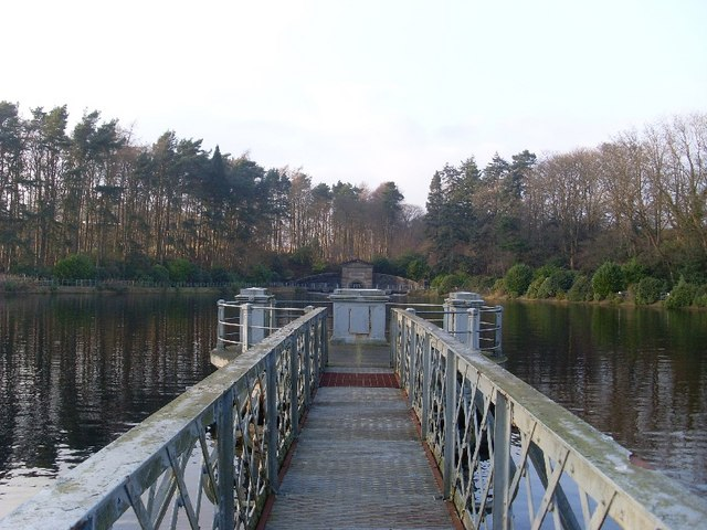 Looking along a pier on Craigmaddie Reservoir