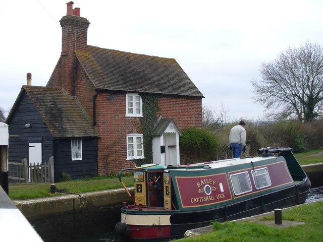 Narrowboat in Trigg's Lock