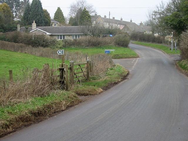 Looking N along Culverhay, Peppershells Lane off to left