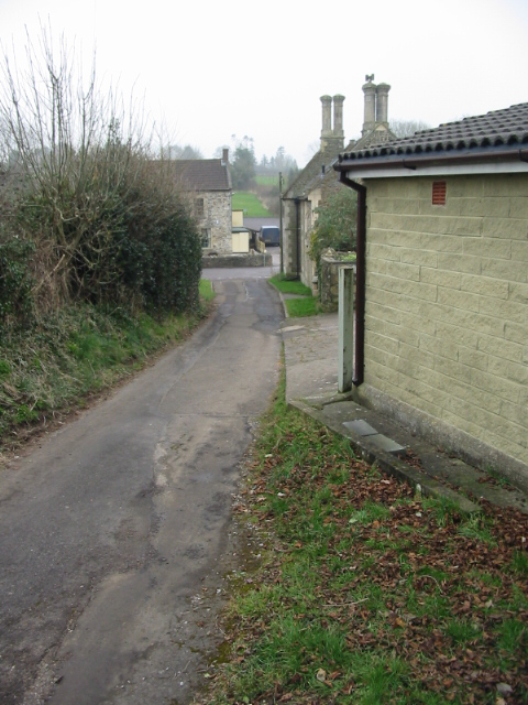 Looking along Church Lane towards the Compton Inn at the end of the lane