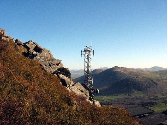 The Spectrasite-Transco mast from near the summit of Mynydd y Gwaith