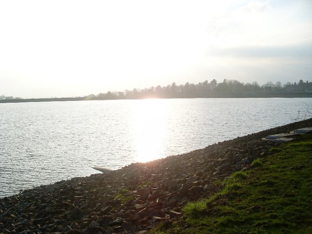 Sun reflecting on Craigmaddie Reservoir
