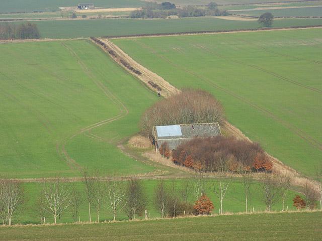 Barn and farmland below Burderop Down