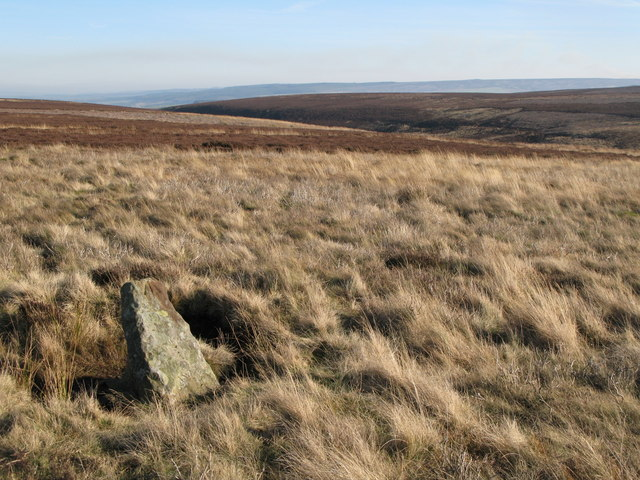 Boundary stone and moorland below Great Lawsley