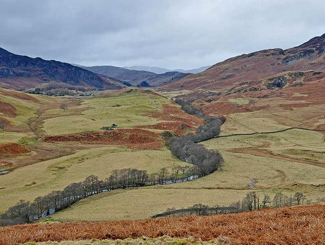 River Lednock winding through Glen Lednock