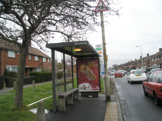 Vandalised bus stop in Purbrook Way