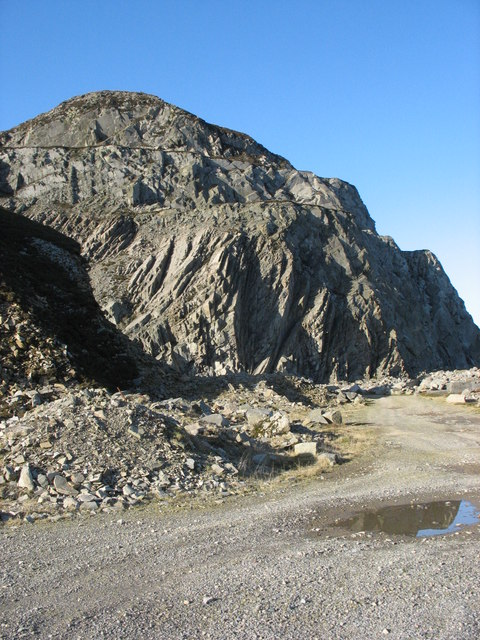 The majestic rockfaces of the upper workings of the Eifl Granite Quarry