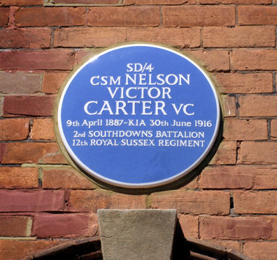 Blue Plaque VC Memorial in Greys Road Eastbourne