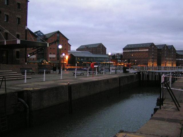 Gloucester Docks at night time