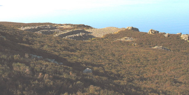 Abandoned early quarries on the upper slopes of the Middle Eifl