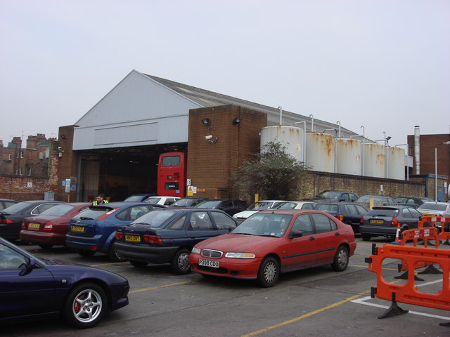 The rear of Willesden Bus Garage
