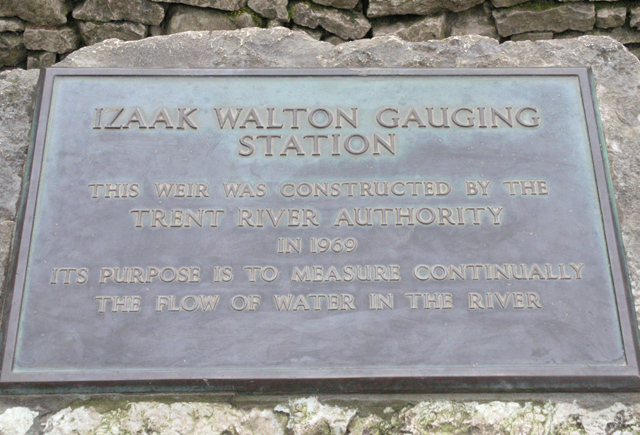Gauging Station plaque, Dovedale
