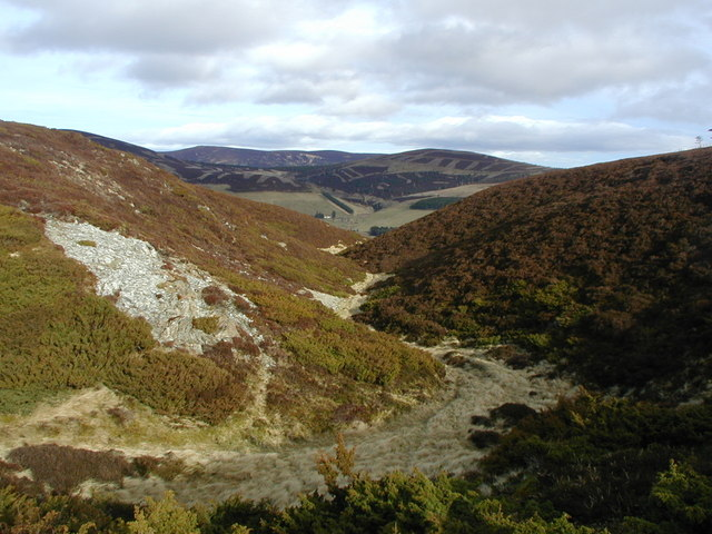 View down gully to Glen Nochty