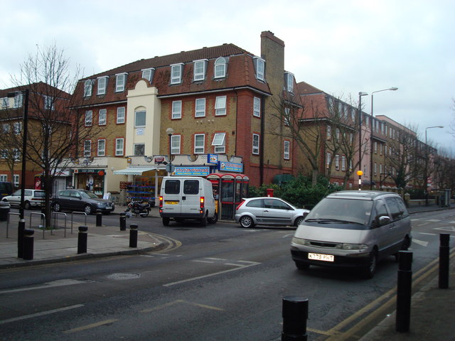 Manor Road, junction with Memorial Avenue, London E15