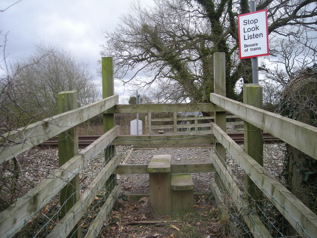 Stiles to a footpath that crosses a railway line