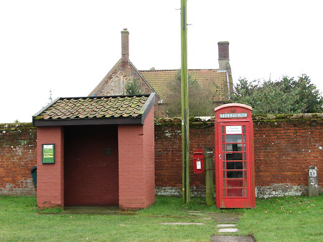 Bus shelter, postbox and telephone box
