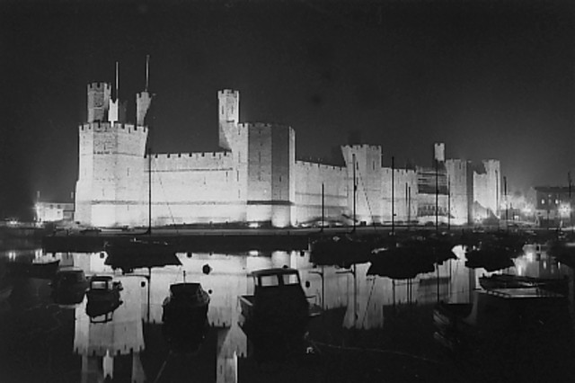 Caernarfon Castle and Harbour at night