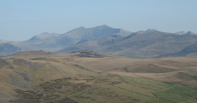 View across the Gurn/Gyrn hills towards Snowdon