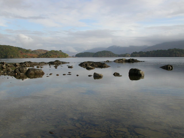 Loch Morar from submerged rocks near Morar Lodge