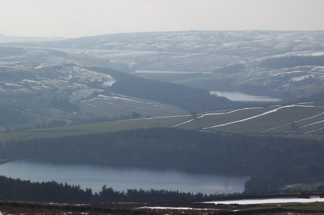 Winter view of Agden, Dale Dike and Strines Reservoirs from above High Bradfield