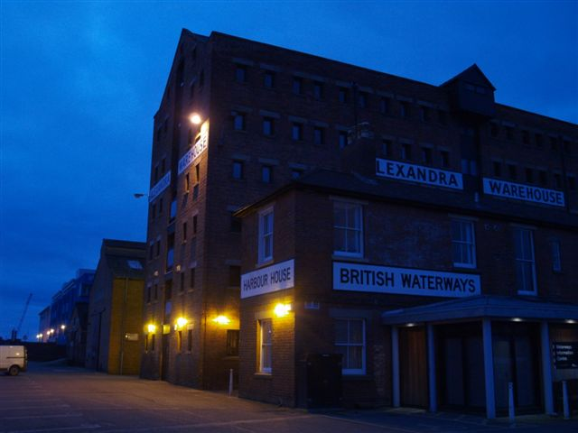 Gloucester docks at night