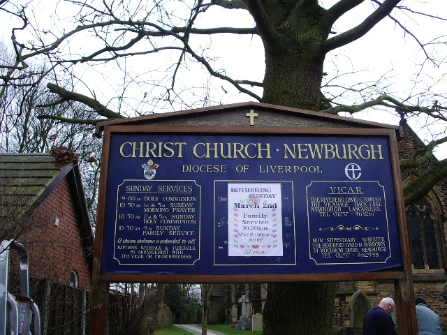 Christ Church, Newburgh, Sign