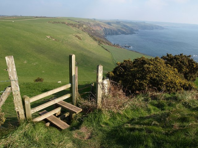 Stile on coast path at Beacon Hill