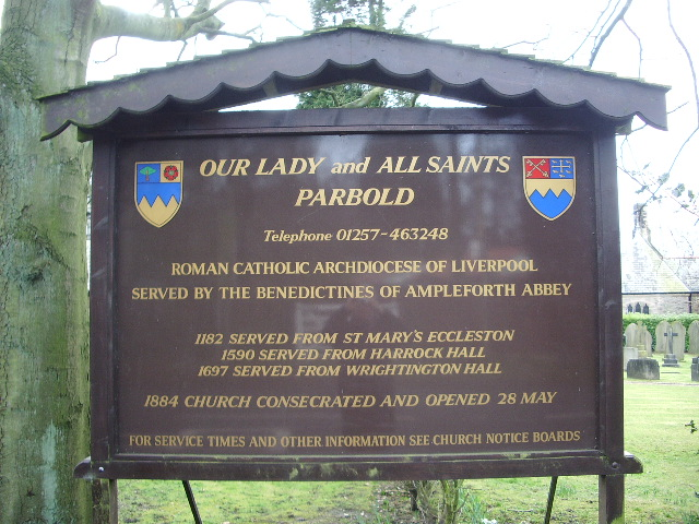 Our Lady and All Saints RC Church, Parbold, Sign