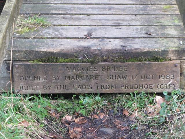 Plaque on Maggie's Bridge