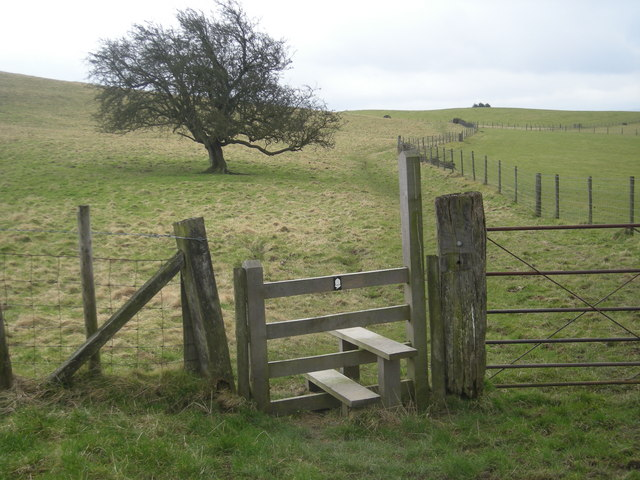 Stile on Offa's Dyke Path as it crosses Hawthorn Hill