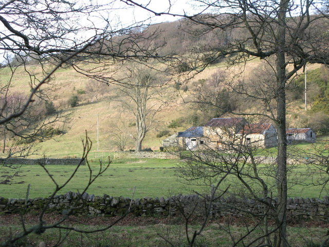 Haugh and derelict barns on the north bank of the River East Allen