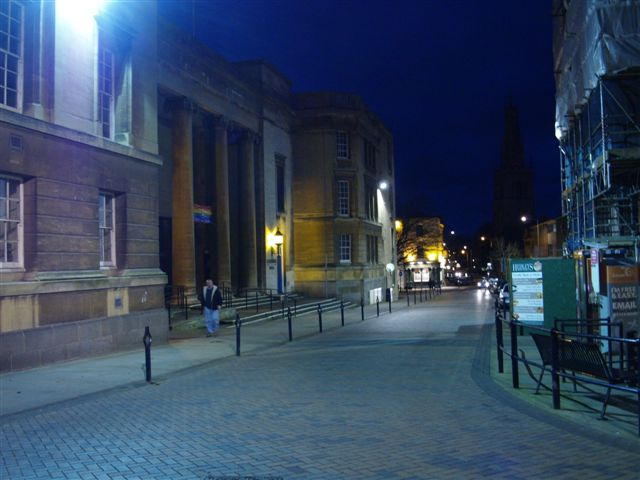 Westgate Street and Shire Hall at night