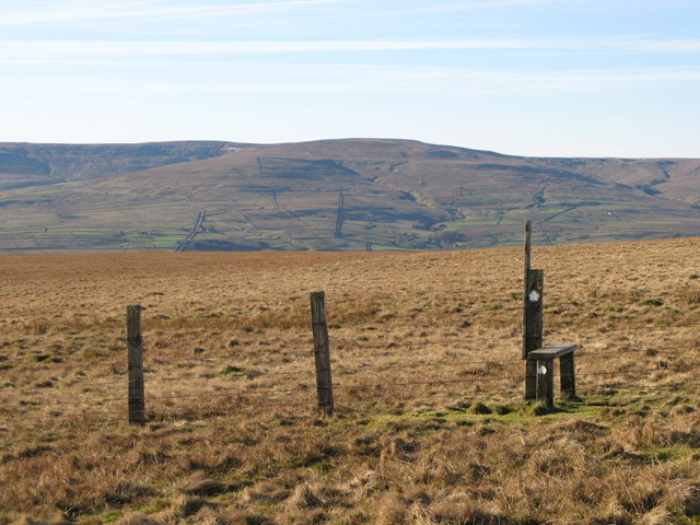 Stile on the path below Greenmere Head
