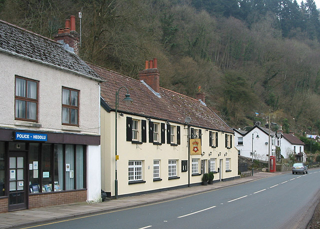 Police station, pub and phone box at Tintern