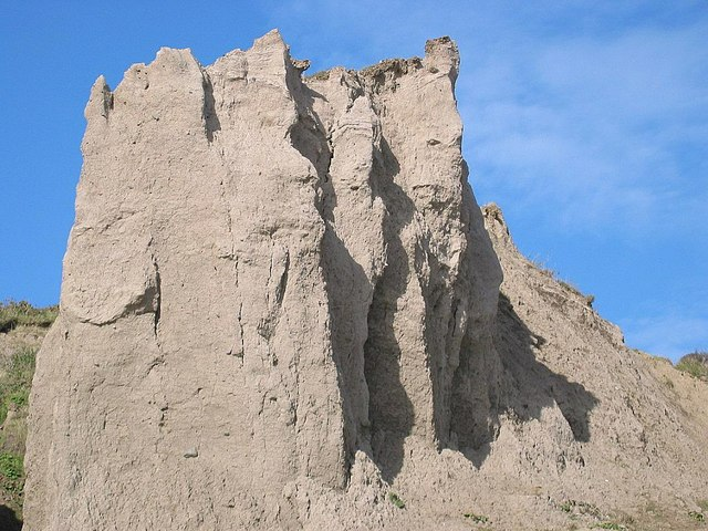 Naturally sculpted clay cliffs at Porth Neigwl