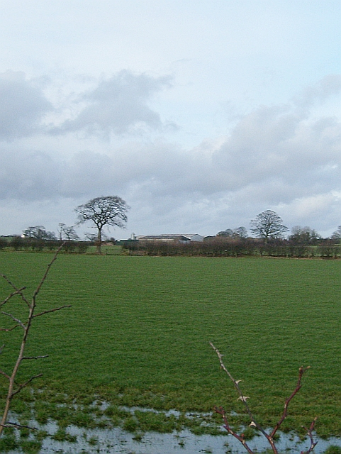 View across fields to East Highberries Farm