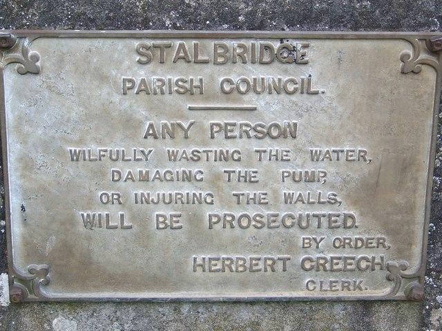 The word on the pump, Stalbridge