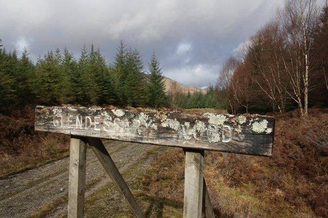 Sign for Glen Dessarry Forest