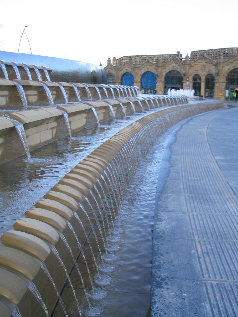 Sheffield station and the water feature