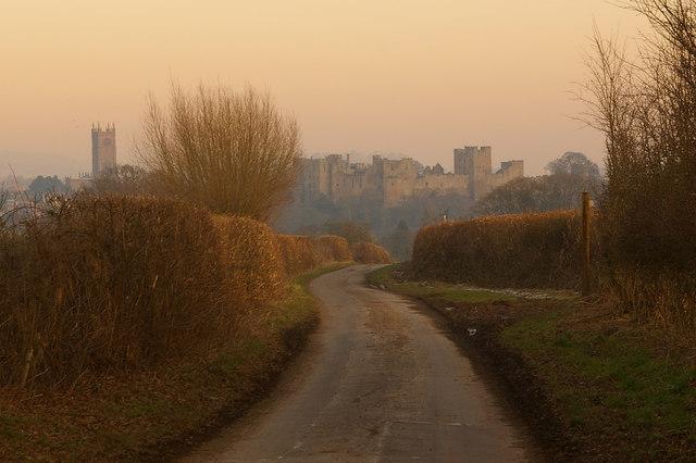 Sun setting over Ludlow, from Halton Lane