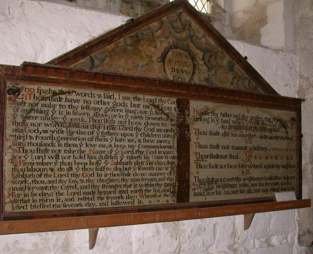 Ten Commandments, St Peter's Church