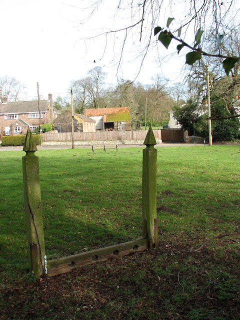 Cranworth - the stocks on the church green