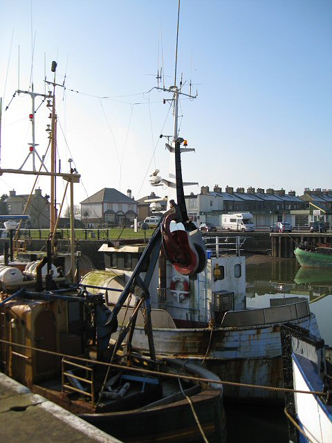 Fishing boats moored at the dock
